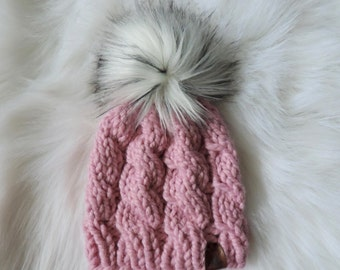 Ready to ship - 12-18M Pink Cable Knit Hat with White faux fur pom