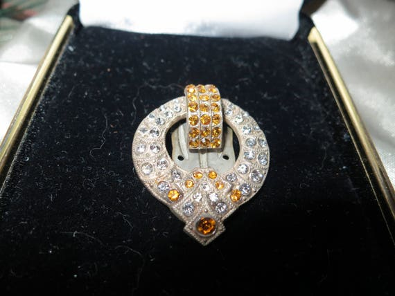 Beautiful vintage Deco silver metal clear and amber rhinestone dress clip or brooch