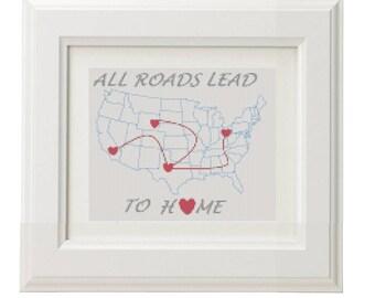 America Cross stitch pattern / Printable PDF Pattern / USA cross stitch / Patriotic cross stitch / States cross stitch / Map Cross Stitch