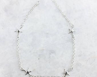 Sterling silver starfish anklet, Silver starfish anklet, Boho anklet, Starfish anklet (A30)