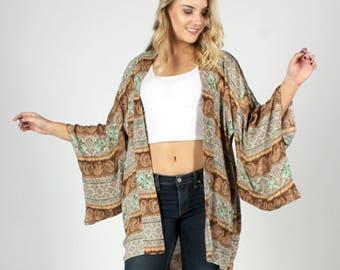 Bohemian Kimono, Boho Kimono, Kimono Cardigan, Beach Coverup, Kimono Cover up, Music Festival, Paisley Print Kimono, Swimsuit Coverup