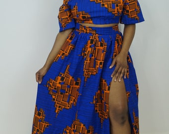 0ff shoulder top co-ord, off shoulder top, flare maxi skirt, ankara skirt, ankara top, cold shoulder off, top, retro skirt,