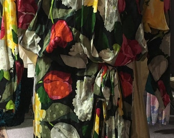 1980's Floral Print 100% Silk Long Sleeve Dress Made by Norma Walters Made in Hong Kong Size: 10