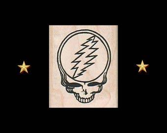 GRATEFUL DEAD Lightning Bolt Skull Rubber Stamp, Craft Stamps, Jerry Garcia, Grateful Dead Gifts, Dead Head, Dancing Bear, Steal Your Face