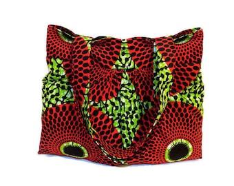 Tote Bag, Women Fabric Tote, Handmade Shoulder Bag, Fabric Bag, Red Fabric Bag, African Clothing, African Print Tote, Ankara Tote Bag