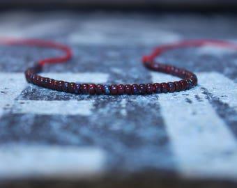 Red Men's bracelet - Kabbalah Bracelet - Red beaded bracelet - Red String, Mens gift for him Husband Gift , Mens Seed Bead