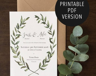 Olive leaf rustic Wedding Invitations   Printable wedding suite   Digital PDF version