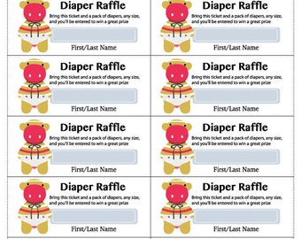 Diaper Raffle Template, PDF Diaper Rattle Template, PDF Instant Download, Knit4feet Baby Shower Game