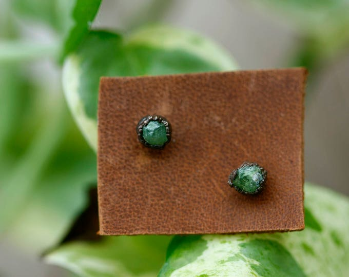 Demantoid Garnet Stud Earrings // January Birthstone
