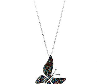 Naked Nation Women's Jewellery Gift 925 Sterling Silver Multi-coloured Cubic Zirconia Butterfly Necklace. A Symbol of change, joy and colour