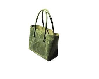 large shopper, greenery / leather bag in vintage green / Lederschopper usd look leather, handmade