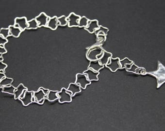 sterling silver star bracelet, star bracelet, star charm bracelet, hammered silver star bracelet, silver star link bracelet, bridesmaid gift