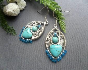 Turquoise earrings silver plated, Silver drop earrings, Wire wrapped earrings handmade, Heart earrings, Silver earrings women, Gifts for mom