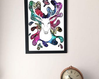 Framed Psychedelic Stag Painting/Drawing, Stag Head Artwork, Stag Picture, Stag Gift A4/A3, Unique Unusual Gift