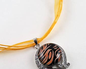 Fused Dichroic Glass Snap Necklace - Elegant Drop Curve with Rhinestones