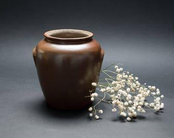 Vintage stoneware vase Scandinavian pottery Rustic decor Flower vase Primitive decor Utensil holder Scandinavian design Crock stoneware