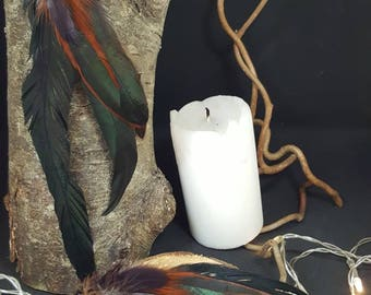 Wild Bohemian Bird - large - Rooster feathers - Bohemian - hippie - gypsy - kind earrings