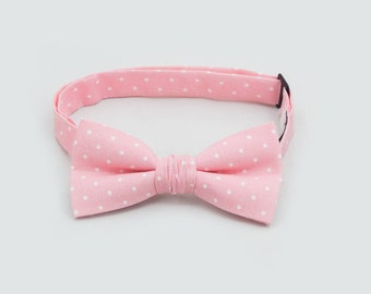 Pale Pink Polka Dots Bow Tie Ring Bearer Outfit Boys Wedding Outfit Father Son Bow Ties