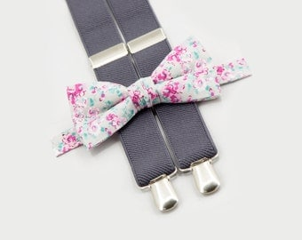 wedding bow tie suspenders set floral bowtie & gray suspenders ring bearer outfit