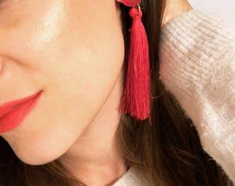 Red Earrings, Red Long Tassel Earrings, Silk Tassel Earrings, Handmade Earrings, Gift for Her, Made in Greece.