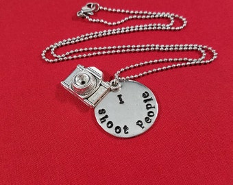 Necklace, I shoot people,  Pewter pendant, Metal charm, Stainless steel chain, Hand stamped Jewelry