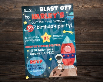Astronaut Outer Space Birthday Invite // Custom Birthday Invitation //  5x7 // High Resolution Digital Download JPEG & PDF