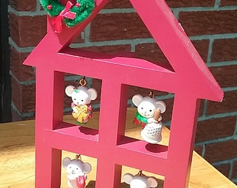 Adorable Mouse House Christmas decoration four miniature mice in red house as ornament mini wreath on chimney