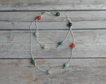 Beaded Necklace, Jade Necklace, Green Necklace, Silver Necklace, Long Necklace, Malaysia Jade Necklace, Chunky Necklace, Statement Necklace