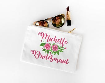 Bridesmaid Gift - Personalized Makeup Bag - Watercolor Makeup Bag Zipper Pouch - Cotton Canvas Cosmetic Bag - Maid of Honor Bag Gift for Her