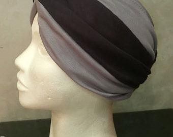 Dark Blue - Grey Full Turban Hat/ Handmade cotton turban/ Retro Head Covering
