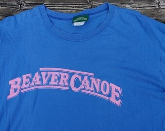 Vintage 90's Beaver Canoe Baby Blue Pink butter thin t-shirt XL Made in Canada