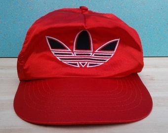 Vintage Adidas Rare 1980's Trefoil Satin Firebird Logo Red Shiny Snapback Hat Cap