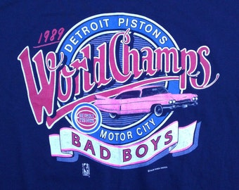 Vintage 80's 1989 Detroit Pistons World Champs t-shirt / Pink Cadillac / Made in USA by Salem Sportswear XL