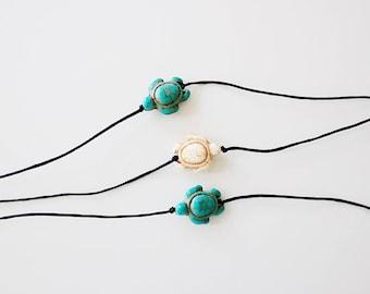 beachy turtle choker - sandy turtle choker, turquoise turtle choker, black cord, minimal, delicate, dainty choker necklace