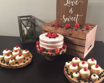 Medium Wood Slice Dessert Stand or Cupcake Stand for Rustic Wedding, Birthday, Party, etc.