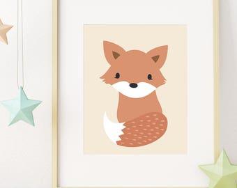 Fox Print, Woodland Nursery Decor, Woodland Baby Shower, Printable Wall Art, Digital Download, Kids Room Decor, Animal Art, Nursery Wall Art
