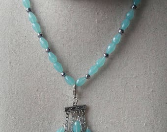 Glass beaded necklace set, Stretch necklaces earrings and tassel aquablue and silver facet glass beads