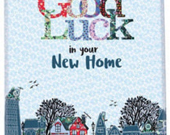 House warming, good luck in your new home tea towel, cotton dish towel, cute kitchen towel, lovely gift for friend, gift for couple