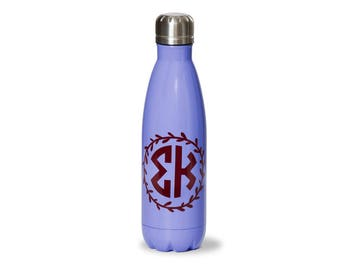 SK  Sigma Kappa Sorority Stainless Steel Water Bottle With Wreath Design