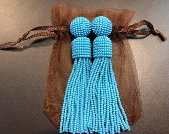 Blue beaded tassel earrings oscar de la renta clip tassel earrings seed bead earrings clip on earrings long beaded earrings bead tassel