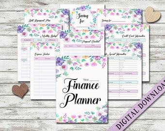 Finance Planner Printable Budget Money Savings Expense Financial Journal Tracker Planning Monthly Debt Bill Payment Budget Binder Letter PDF