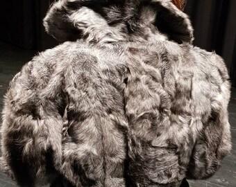Silver Streak Vintage German 1970s Astrakhan Persian Wool Silver Grey Mid Length Real Fur Coat Womens Small
