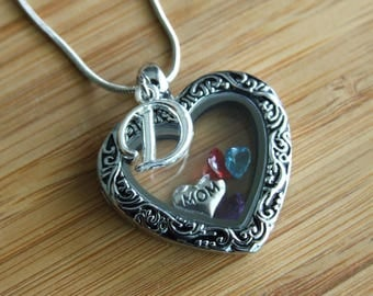 Personalized Heart Necklace, Birthstone Mom Necklace, Heart Floating Locket, Mother Gift, Grandma Gift, Gift Under 30
