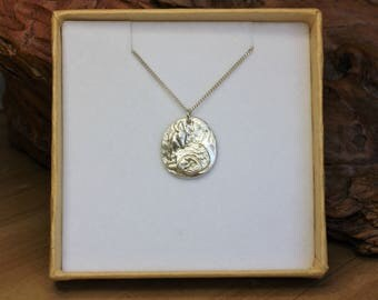 SALE Handcrafted Silver Deer Pendant Necklace, Mother Deer and Fawn, Fine and Sterling Silver