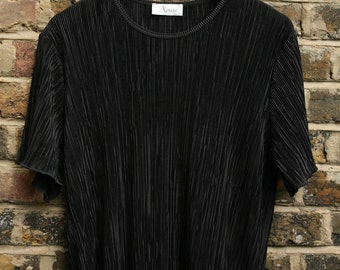 Vintage black top crepe fabric oversized 1980s Size XL 14-16
