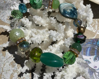 Bohemian Beach Bracelet, Green Crystal Bracelet, Shells and Pearls, Hippie Jewelry, Lampwork Beaded Bracelet, Ladies Bracelet, Gypsy Boho