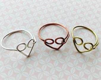 Heart Ring, Love Ring, Stacking Ring, Open Heart Ring, Promise Ring, Friendship Ring, Birthday Gift, Best Friend Ring, Girlfriend Gift