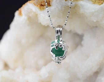 Necklace and pendant 925 sterling silver Emerald Crystal cage