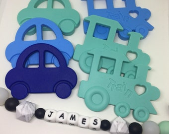 Silicone Car teether or train - baby baby teether - toddler teether - baby toy -bpa free - silicone toy - chew toy - baby gift - pacifier