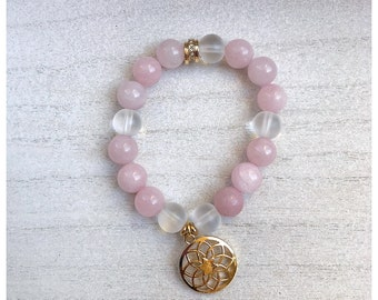 Rose Quartz + Clear Quartz  Bracelet